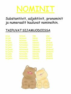 #sanaluokat #nominit Learn Finnish, Finnish Language, English Idioms, Second Language, Writing Skills, Primary School, Special Education, Grammar, Vocabulary
