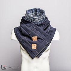 Sjaal met dikke gewatteerde kraag