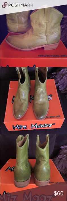 """Miz Mooz Ankle Boots Miz Mooz leather ankle boots. Style """"Carloto"""". Sz 9. Worn a handful of times. Gently worn. No scuffs or visible wear except slight wear on bottom. Kept in box.  Smoke free , bug free home. Miz Mooz Shoes Ankle Boots & Booties"""