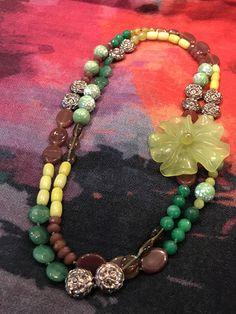 57463668f034 Collar corto verde con piedras naturales y flores ❤ Gemstone necklace with  green flower Fahoma