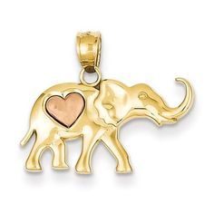NEW-SOLID-2-TONE-14K-GOLD-ELEPHANT-WITH-HEART-1-13g-PENDANT-FOR-NECKLACE-82