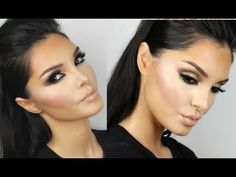 ▶ Kim Kardashian Makeup Tutorial New Brown Smokey Eyes - YouTube (So not a Kim K fan but I love the eyes and how to make the lips pop)