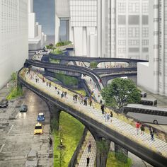 The Midtown Viaduct could link NYC's Hudson Yards and Penn Station Bycicle Vinta. - The Midtown Viaduct could link NYC's Hudson Yards and Penn Station Bycicle Vintage, Bycicle Art # - Urban Architecture, Concept Architecture, Amazing Architecture, Architecture Diagrams, Architecture Portfolio, Urban Design Concept, Urban Design Diagram, Urban Landscape, Landscape Design