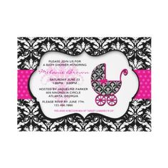 Chic Pink Polka Dot Damask Baby Shower Invite by Treasure the Moments