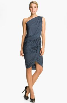 Halston Heritage Dresses Draped One Shoulder Dress