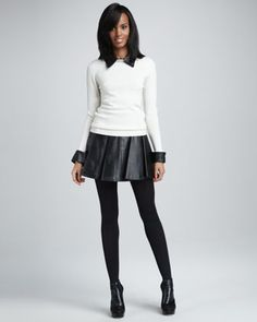 This my style! The length of the skirt, the sweater with a button up underneath and some black opaque tights. I wear this exactly style often when I dress up for work