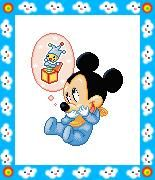 Free cross stitch pattern in pdf format with Disney baby Mickey Mouse