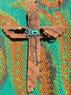 Ceramic clay wood look horsehair fired southwestern religious cross wall hanging home deco... $28