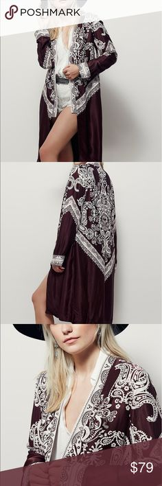 Free People Bandana Printed Kimono In a silky fabrication and bandana print this long and effortless kimono features long sleeves and an open front. Lined. Mahogany color 50% Viscose 50% Rayon Machine Wash Cold Import Free People Jackets & Coats