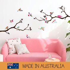 Motif oiseaux arbre de fleurs   Pépinière de jeunes animaux décoration   Sticker autocollant mural amovible   MS267PC par MelbourneStickerShop sur Etsy https://www.etsy.com/ca-fr/listing/262778570/motif-oiseaux-arbre-de-fleurs-o