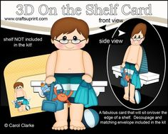 3D On the Shelf Card Kit - Little Teen Jarvis is spending the Day on the Beach - CUP725739_359 | Craftsuprint