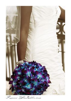 Purple and blue orchids with diamonds