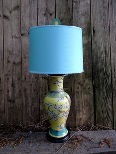 Yellow and Jade Chinoiserie Vase Lamp with Aqua Drum Shade and Billiard Ball Finial