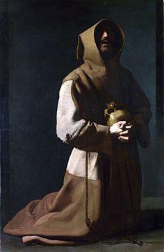 Saint François d'Assise à genoux, de Francisco de Zurbarán (Londres, National Gallery) Le 10 septembre 1224 : les franciscains débarquent à Douvres pour former des communautés à Cantorbéry, à Londres, à Oxford, à Cambridge, à Lincoln et à York.