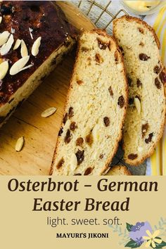 CELEBRATE EASTER WITH Osterbrot a German Easter Bread which is soft, fragrant, sweet and rich. Its the German version of Jewish Challah or the Italian Easter Bread. Enjoy the bread for breakfast or at teatime. Leftover bread can be made into a bread pudding or French Toast.#easterrecipe #easterbread #germanbread #baked #bread #osterbrot Savory Bread Recipe, Bread Recipes, Spring Recipes, Easter Recipes, Delicious Breakfast Recipes, Dessert Recipes, Healthy Meals For Kids, Healthy Recipes, Italian Easter Bread