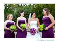 Maybe I could have a purple bouquet and my bridesmaids all have green