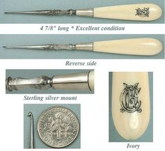 *Antique Carved Ivory & Silver Crochet Hook * Circa 1880