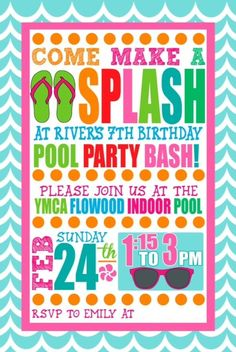 Cute Swim Party Invitation-auntie can probably do something like this, maybe postcard size?