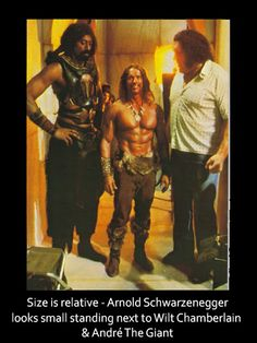 Size is relative - Arnold Schwarzenegger looks small standing next to Wilt Chamberlain André The Giant