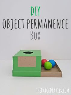 baby toys DIY Object Permanence Box The Paige Diaries Diy Montessori Toys, Diy Sensory Toys, Baby Sensory Play, Montessori Materials, Baby Play, Activities For One Year Olds, Toddler Learning Activities, Baby Learning, Infant Activities