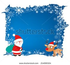 christmas background with santa claus and deer