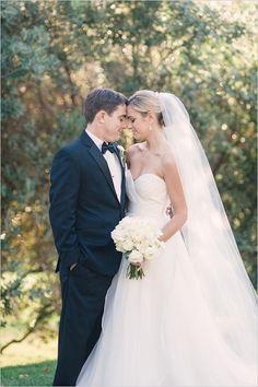 Classic black tie bride and groom look. #classicgroomlook #classicbride #weddingchicks Captured By: We Heart Photography --- http://www.weddingchicks.com/2014/04/24/timeless-california-wedding/