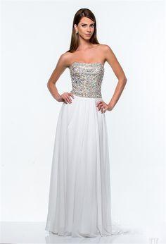 A Line Strapless Long White Chiffon Rhinestone Beaded Prom Dress