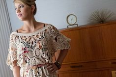"Coogee Bay Dress - Interweave Crochet Summer 2012. Crochet pattern instructions by Jenny King. 50"" bust circumference - this is a ""one size fits most"" garment."