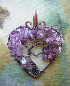Tree of Life Heart - Amethyst
