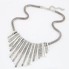 Silver Stick Bib Snake Chain Necklace