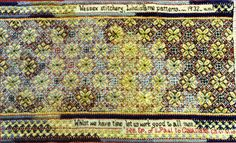 Margaret Foster Lindisfarne Patterns 1932 (pictured in Gay Eaton's Wessex Stitchery) Embroidery Art, Embroidery Patterns, Embroidery Techniques, Rhodes, Needle And Thread, Have Time, The Fosters, Needlework, Bohemian Rug