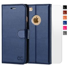 OCASE iPhone Case [Free Screen Protector Included] Leather Wallet Flip Case for iPhone 6 / Devices Inch - Blue — Gift Advisor Iphone 6 Covers, Iphone Cases, Apple Iphone 6, Leather Case, Leather Wallet, Smartphone Shop, Panzer, Tempered Glass Screen Protector, Cell Phone Accessories