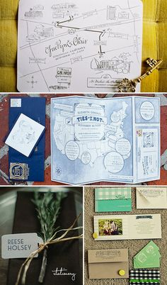 Calligraphy Map: Once Wed  Navy wedding brochure: SMP  Rosemary Place card: SMP  Green Invitation Suite: Green Wedding Shoes