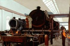 Building an Engine at Crewe Works (London, Midland and Scottish Railway poster artwork)  by Norman Wilkinson