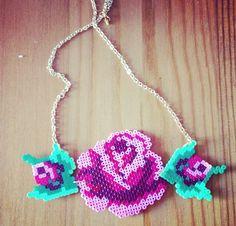 Romantic Rose necklace hama perler beads by Jannieel