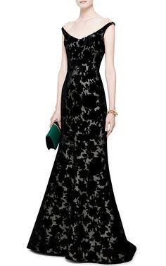 Velvet Devoré Gown by Oscar de la Renta - Moda Operandi- Give me a Gala to wear this to!!