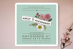 Wildflower Label Wedding Invitations