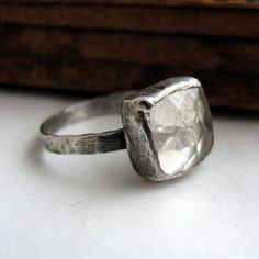 Handmade sterling silver faceted crystal quartz ring.