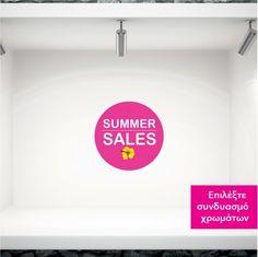 Αυτοκόλλητα καλοκαιρινής βιτρίνας Summer sales σε κύκλο