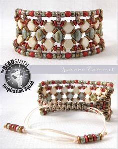 Joanne Zammit-Malta Sliding Knot Bracelet using:  Silky beads Honeycomb beads Infinity beads Matubo beads Czech Fire Polished beads Preciosa beads Quad beads O-beads S-Lon Variegated Hemp Cord Fireline