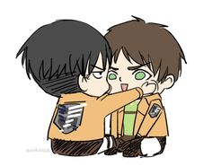 Attack on Titan ~~ Having a bad day? Pin this to your board. Activate it. Stare at it until you feel better. :: Levi and Eren