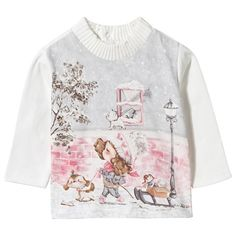 Mayoral White and Pink Sledging Print Polo Neck