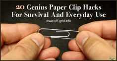 20 Genius Paper Clip Hacks For Survival And Everyday Use ►► http://off-grid.info/blog/20-genius-paper-clip-hacks-for-survival-and-everyday-use/?i=p