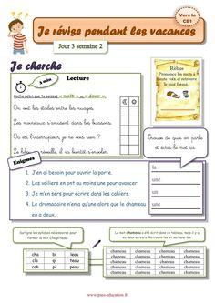 Cahier de vacances gratuit à imprimer - CP vers le Ce1 - Juillet Grade 1, Vocabulary, Language, Journal, Teaching, Activities, Books, Kids, New York