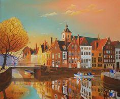 Soirée sur les quais de Bruges, Peinture, huile sur toile, Jaques Moreau-Gaudry