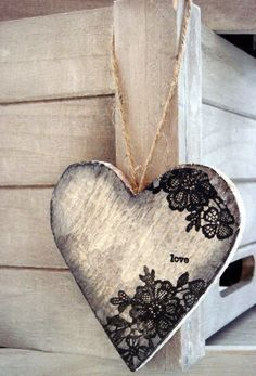 Timber heart with lace print