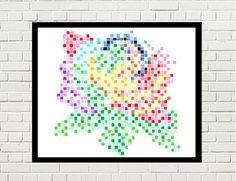 rose art, rose poster, rose print, rose pixel art, flower art, flower poster, flower print, colorful, colurful, nature art, nature poster by PixelDesignsUP