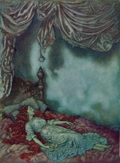 """'The Sleeper' from Edgar Allan Poe's """"The Bells and Other Poems"""" (1912) illustrated by Edmund Dulac"""