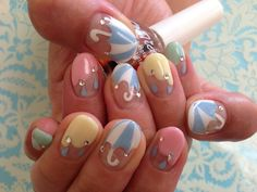 Pastel Umbrella Nail Art