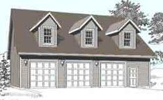 Three Car Garage With Loft Plan - 2280-2 by Behm Design